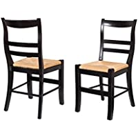 BirdRock Home Side Chair with Woven Rush Seat | Set of 2 | Delivered Fully Assembled (Black)