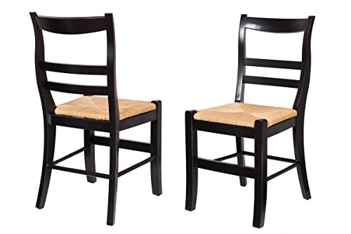 BirdRock Home Side Chair with Woven Rush Seat | Set of 2 | Delivered Fully Assembled (Black) (Rush Chair Seat)