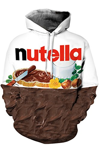 Cutiefox Womens Nutella Print Hooded Pullover Hoodie Sweatshirt White S