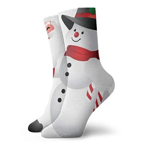 (YUANSHAN Socks Cute Christmas Clipart Snowman Women & Men Socks Soccer Sock Sport Tube Stockings Length 11.8Inch)