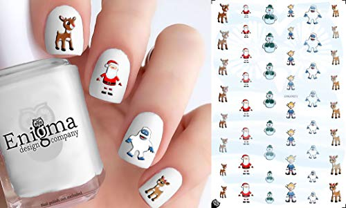 Rudolph the Red Nosed Reindeer Accessories (Clear Water-Slide Nail Decals) -