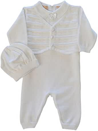 Baby Boys' Christening Outfit with attached Vest and Hat