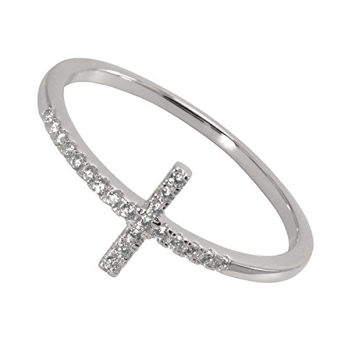 Paialco 925 Sterling Silver Sideways Cross Cubic Zirconia Ring, Size 7 (Cross Thin Ring)