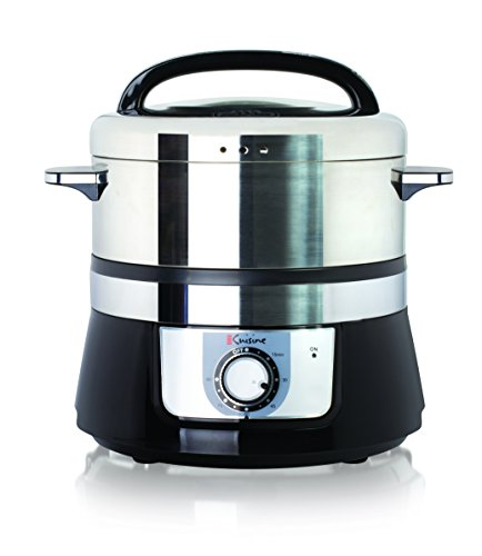 Euro Cuisine FS3200 Stainless Steel Electric Food Steamer - 3.2Liter - Black by Euro Cuisine