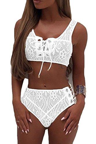 Almaree Womans Lace Up Front Tie Side Bottom 2PCS Bikini Set Lace Swimwear