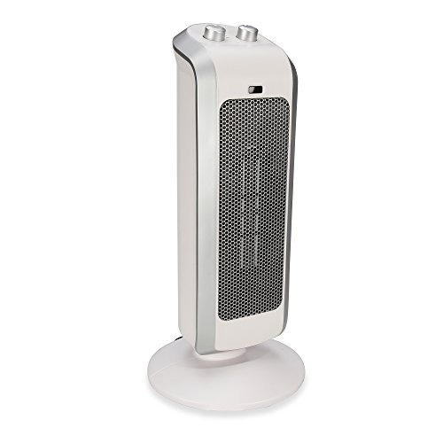 Crane USA Heaters - White Personal Ceramic Mini Tower Heater Space heater tip over protection 2 Settings Overheat Protection Cool Touch 1500 Watt / 750 Watt Warming Heater Fan (Two Cranes)