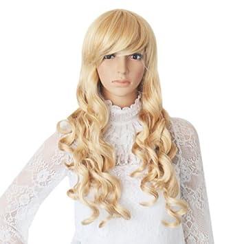 Pelucas Pelo Largo Rizado Ondulado para Mujer Señora Moda Fiesta Rubio