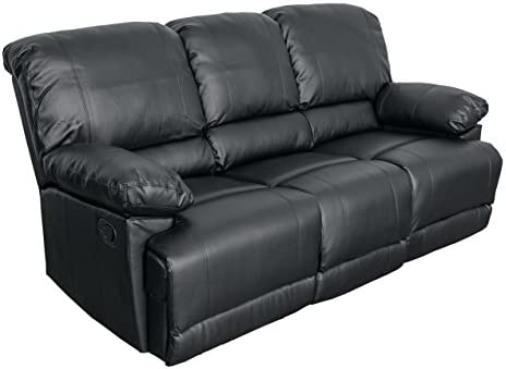 CorLiving Lea Leather Reclining Sofa Black