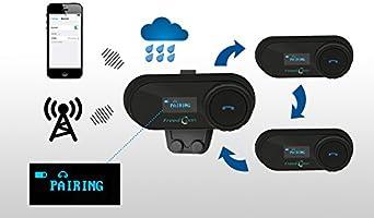 Intercomunicador Casco Moto para 2 o 3 Jinetes Impermeabilidad Manos Libres Radio FM 1 Piece of Cable Duro FreedConn TCOM-SC Auriculares Intercomunicador Moto Bluetooth