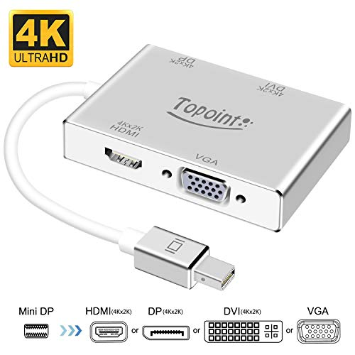 Mini DisplayPort to HDMI DVI DP 4K VGA Adapter, TOPOINT Thunderbolt to HDMI DP DVI VGA Adaptor Converter Compatible Old MacBook Air/MacBook/MacBook Pro,Surface Book Surface Pro 3/4 ThinkPad X1