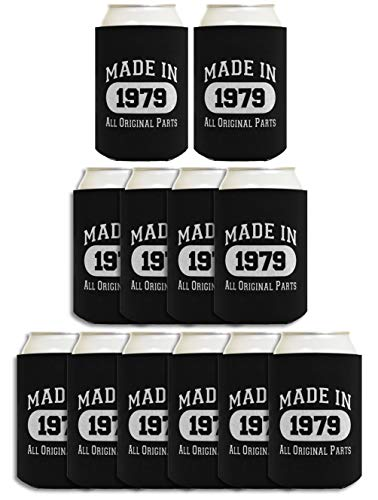 40th Birthday Gift Coolie Made 1979 Can Coolers Coolies 12 Pack Black]()