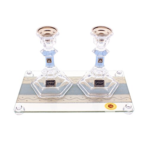 (Judaica Mega Mall Unique Wavy Stainless Steel Candlestick Set with Rainbow Pomegranates and Tray)