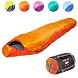 KeenFlex Mummy Sleeping Bag 3-4 Season Extra Warm & Lightweight Compact Waterproof Advanced Heat Control System – Ideal for Camping Backpacking Hiking Festivals – Compression Bag Included (Orange)