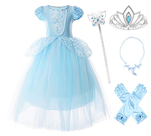 JerrisApparel Girls Cinderella Princess Costume Puff Sleeve Fancy Party Dress up (5, Blue with Accessories) -