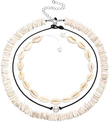 CEALXHENY Shell Choker Necklaces Bohemia Cowrie Shell Necklaces Beaded Seashell Necklaces Summer Beach Jewelry for Women