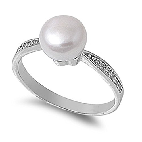 Sterling Silver Womens Simulated Classic product image