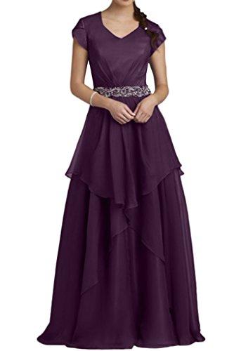 Royaldress Traube Chiffon Kurzarm Langes Abendkleider Partykleider Brautmutter Festlichkleider Neu