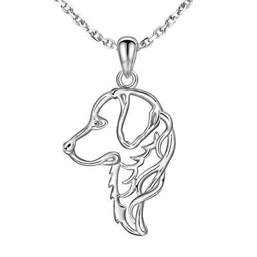 MANBU 925 Sterling Silver Charm Golden Retriever Greyhound Dog Head Pendant Necklace Animal Memorial for Women or - Greyhound Dog Charm