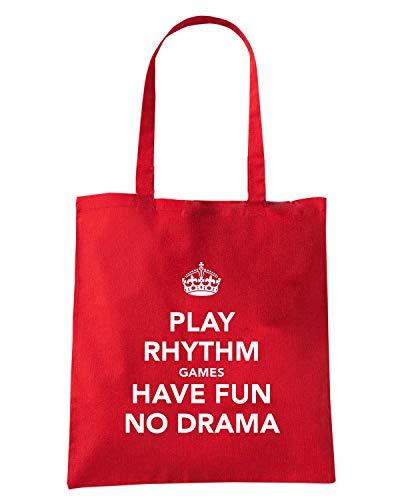 Speed Shirt Borsa Shopper Rossa TKC4027 KEEP CALM AND PLAY RHYTHM GAMES HAVE FUN NO DRAMA