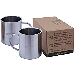 Stainless Steel Coffee Mugs – Premium Wider Handle 'BLUE' & 'PINK' Laser Engraved Coffee Cups – Perfect for the Home…