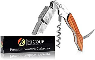 Professional Waiter's Corkscrew by HiCoup - Ying Yang Resin Handle All-in-one Corkscrew, Bottle Opener and Foil Cutter...