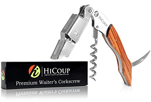 Waiters Corkscrew by HiCoup – Professional Grade Natural Mahogany Wood All-in-one Corkscrew, Bottle Opener and Foil Cutter, the Favoured Choice of Sommeliers, Waiters and Bartenders Around the World