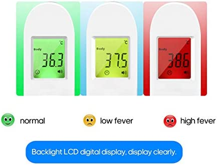 Decdeal Digital Fingertip Tool Measurement Meter and IR Infrared Temperature Tool Forehead Temperature Measurement Three Colors Backlight Digital Display for Home Sports Travel