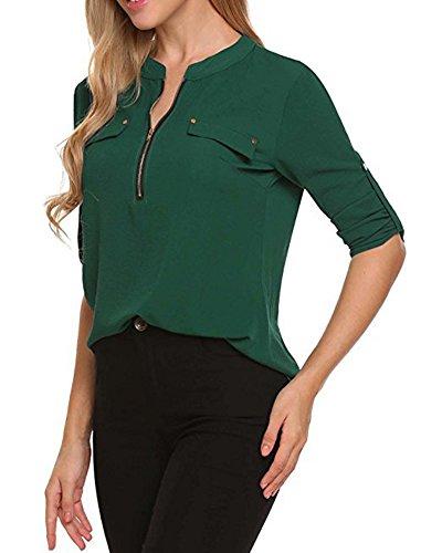 Blouse Fleur Vert T Longue Chemise Imprimer Femme Chemisier Top Shirt Manches la DianShao Rp07I