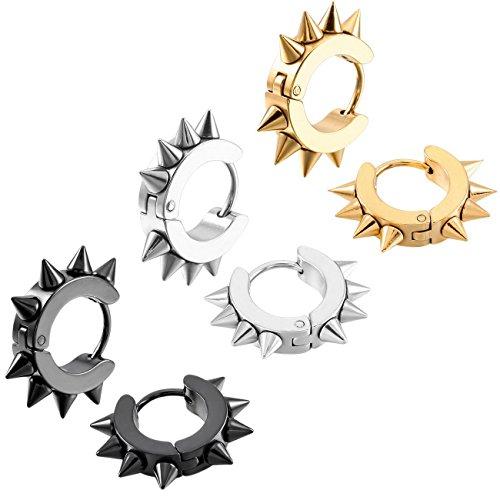 MOWOM Silver Gold Two Tone Black Stainless Steel Hoop huggie Earrings Awl Taper Rivets (3 Pairs)