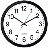 Bernhard Products Black Wall Clock, Silent Non