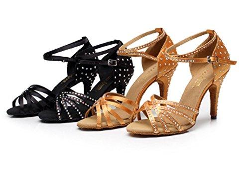 YOGLY Zapatos de Baile Latino Danza Para Adultas Sandalias de Baile de Salón Tacon Alto Mujer Zapatos de Satén Diamante 34-42 EU Dorado (Tacón 7.5cm)