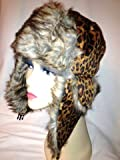 Weatherproof Warm Nylon Faux Fur Animal Print Trapper Aviator Hat for Women with Complete Inner Faux Fur Lining