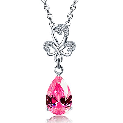 Emma Manor Women Silver Necklace 14k White Gold Overlay 925 Sterling Silver 3 Prong 12mm Pear Shape Crystal Pendant Necklace for Women,18