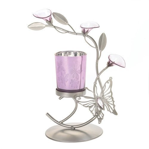 (Taczotech Pink Butterfly Lily Flower Candleholder, Home Decor)