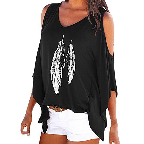 (Oliviavan Blouse,Fashion Womens Casual Plus Size Skull Cold Print Shoulder T-Shirt Tops Black)