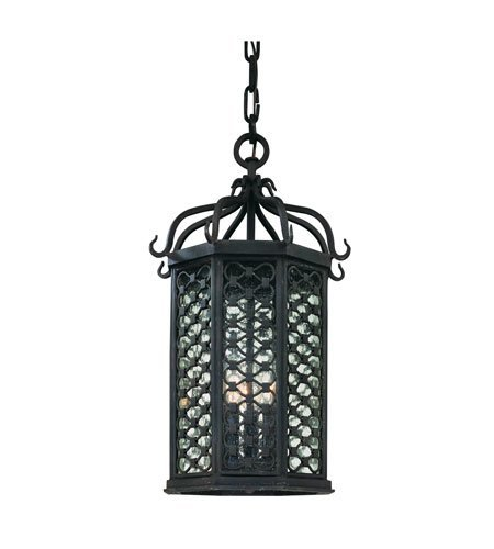 (Outdoor Pendant 3 Light with Old Iron Finish Hand Forged Iron Material Candelabra 20 inch Long 180 Watts)