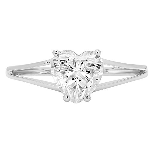 1.3ct Brilliant Heart Cut Designer Solitaire Promise Anniversary Statement Engagement Wedding Bridal Promise Ring For Women Solid 14k White Gold, 7 by Clara Pucci