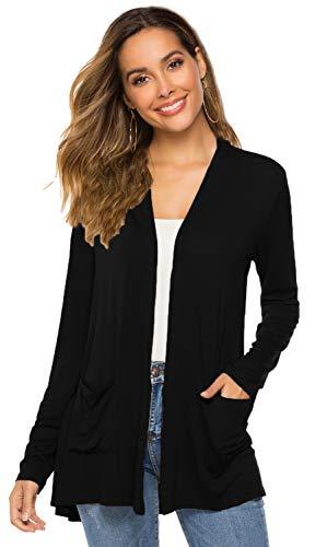 - Black Long Sleeve Cardigan for Women,Women Long Sleeve Open Drape Front Plus Size Pocket Cardigans Kimono (01Black, XL(16-18))