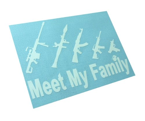 [Meet My Gun Family Figure Family funny Vinyl sticker Bumper Decal (Come With Zombie Hunter Permit] (Zombie Family Decals)