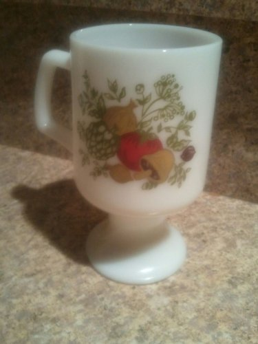 Vintage Corning Ware Spice of Life Milk Glass Footed Mug Cup Collectible