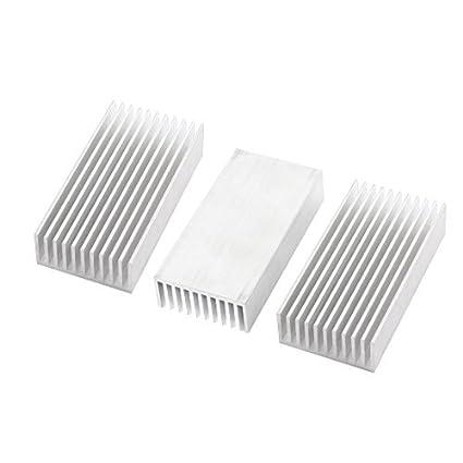 3 Pcs Silver Tone Alumínio Radiador dissipador de calor dissipador de calor 100x50x23mm