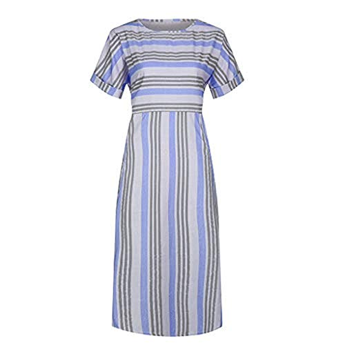 ✿HebeTop✿ Women Sexy Deep O-Neck Short Sleeve Stripe Print A Line Long Dress Purple