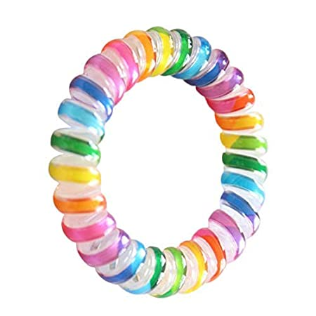 Floridivy Women Rainbow Color Elastic Hairbands Spiral Shape Hair Ties Rope  Headwear Telephone Headband  Amazon.co.uk  Kitchen   Home 331b4064119