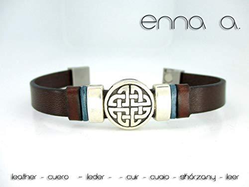 Pulsera de cuero marrón, figura celta N 2, pulsera de cuero ...