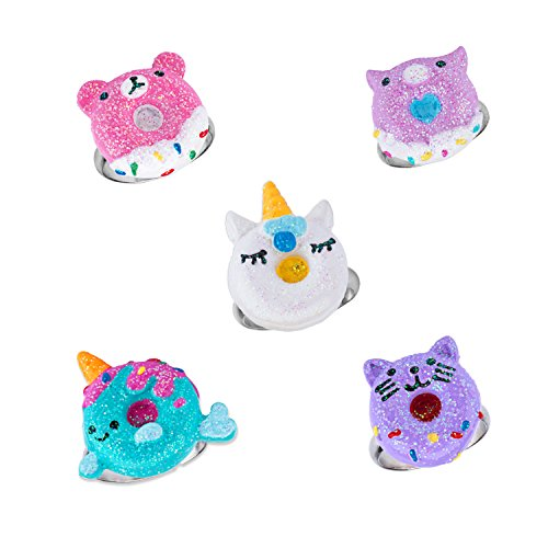 SkyWiseWin Adjustable Rings Set for Children - Colorful Cute Unicorn Donut Ring for Little Girls Gift Set 5 Pack