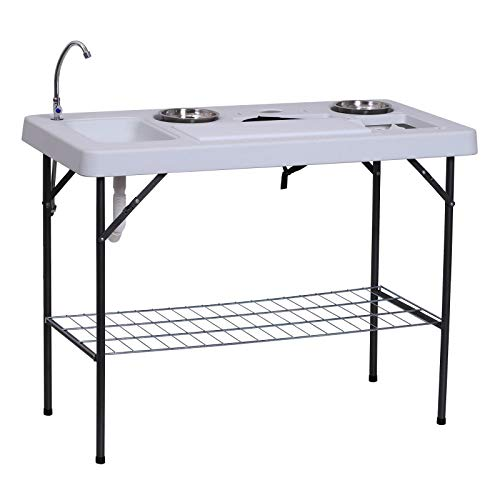 Outsunny 50 L Folding Fish Cleaning Table with Sink, Faucet, and Accessories