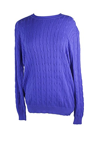 Club Room Mens Cable Knit Crew Neck Pullover Sweater Blue L Pima Cotton Cable