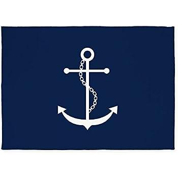 CafePress Navy Blue Anchor 5u0027x7u0027Area Rug   Standard White
