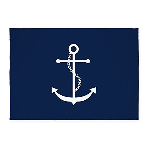 CafePress Navy Blue Anchor Decorative Area Rug, 5'x7' Throw Rug - Anchors Away Blue Rug