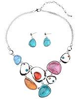 Ginasy Vintage Costume Jewelry Acrylic Resin Charm Stone Necklace Earring Set Jewelry Set